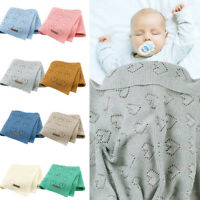 KQ_ Cy_ 100x80cm Hollow Heart Knit Baby Blanket Bedding Quilt Swaddle Wrap Eager