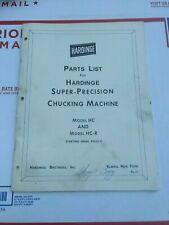 Parts List For Hardinge Super Precision Chucking Machine Hc Amp Hc R Oem