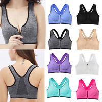 Women Padded Sports Bra Front Zip Seamless Yoga Gym Workout Vest New