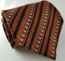 Richel Royal Ocre Orange & Grey 100% Silk Geometric Tie - Handmade in Spain