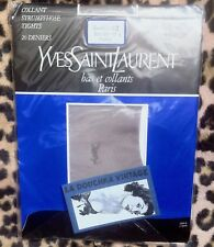 Yves St Laurent 1970s Vintage Sheer Gray Pantyhose~ Logo Embroidery ~20 D~ New~L