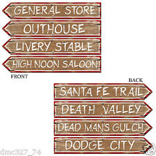 """4 COWBOY Wild West WESTERN Party STREET SIGN CUTOUTS Decorations 4"""" x 24"""""""