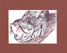 """""""MY BRIDGET"""" by Ruth Freeman INK SKETCH MEASURES 8"""" X 10"""" WITH MAT"""