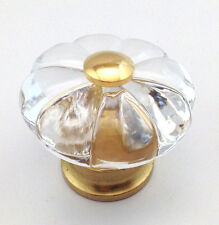 Clear Acrylic Flower Solid Brass Knob Cabinet Cupboard Door Drawer Dresser Pull