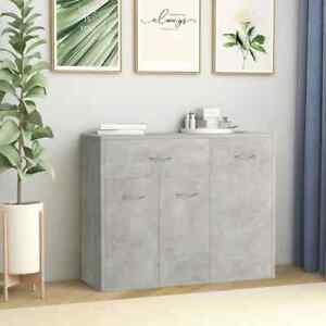 vidaXL Sideboard Concrete Grey Chipboard Cabinet Home Organiser Buffet Server