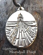 Lighthouse - Marshall Point, Port Clyde, Maine - Pewter Pendant -Seaside Jewelry
