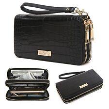CrossLandy Women's RFID Blocking Double Zipper Around Wallet Black Clutch Purse