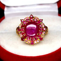 NATURAL 9 X 10 mm. CABOCHON & BURMA ROUND RED RUBY SAPPHIRE RING 925 SILVER