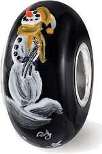 Sterling Silver Reflections Black Snowman Frosty Nights Fenton Glass Bead
