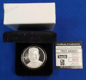 Troy Aikman 1 ozt .999 Fine Silver Rounds COA Box