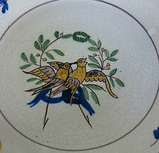 ASSIETTE de MARIAGE, oiseaux, couronne, 18ème, 19ème, NEVERS, FAIENCE ANCIENNE,