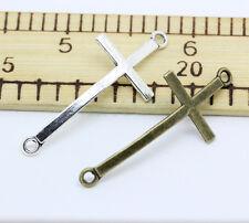 Tibetan silver charm connector cross  fit DIY bracelet necklace 30-150pcs 1.8g