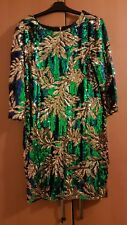 Ladies Dress 20 Evening Party Christmas New Year Sequin Green Gold Vintage