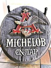 Lg Vintage Michelob On Tap Beer Bottle Sign 3-D Wood Looking Barware Advertising