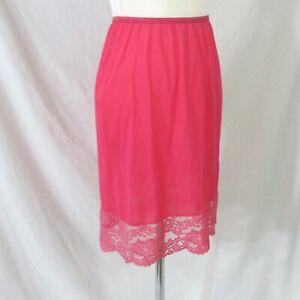 Vanity Fair Half Slip Size Medium Vintage 1960s Bright Coral Pillow Tab Lace