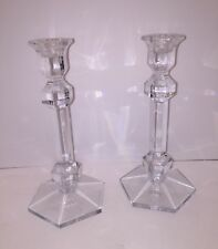 "Vtg Val St Lambert Crystal Candlesticks 9"" Signed Gardenia Excellent Cond #5047"