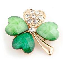 Beautiful Green Crystal Four Leaf Clover Shamrock Brooch Irish st Patrick 0732