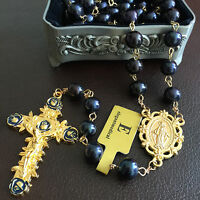 Black Tahitian (AAA 10MM) Real Pearl BEAD ROSARY CROSS gold GIFT NECKLACE BOX