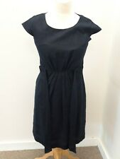HOBBS LONDON - SMART NAVY LINEN DRESS WITH BOW DETAIL TO THE FRONT - UK SIZE 12