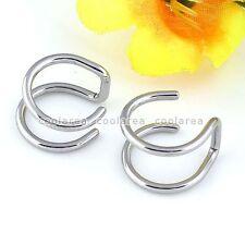 "Pair Steel Wrap Ear Cuff Fake 5/16"" Earring Ring Hoop Cartilage Clip NO Piercing"