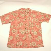 Tommy Bahama Mens Medium Button Up Shirt Salmon Hawaiian Short Sleeve Silk