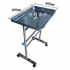 Medical Tool Stainless Steel Surgical Tray Rack Cart Double Lift Lock Adjustment