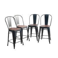 "4× 24"" Metal Bar Stool Counter Chair Dinning Chairs High Back Wooden Matte Black"
