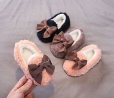 Baby Kids Girls Cute Warm Winter Snow Boots Princess Casual Fur Lined Flat Shoes