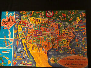 Complete 3042 Vintage Disney PICTORIAL MAP OF THE USA 145 Pcs MICKEY MOUSE CLUB
