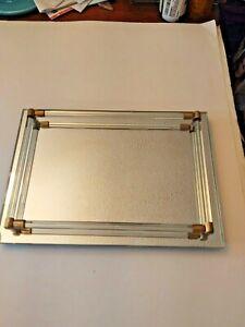 Vintage Art Deco Rectangular Mirrored Glass Vanity Tray w Brass Detail Rods