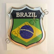 Pegatina Brasil 3D Escudo Emblema Vinilo Adhesivo Resina Relieve Coche Moto
