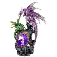 Large Crystal Cave Figurines Set Two Fantasy Dragon LED Ornament Sculpture Gift