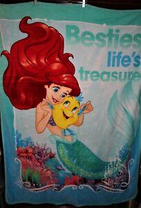 "Disney Princess Ariel LITTLE MERMAID Soft Fleece KIDS Throw BLANKET 46"" x 58"""