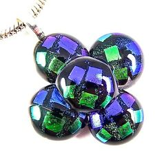 DICHROIC Fused Glass Silver PENDANT Blue Green Polka Dot Patterned Dicro Flower
