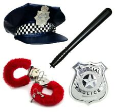 Police Officer Fancy Dress Costumes Black Hat Stag Hen Night Hand Cuff Sexy Set