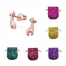Childrens Girls Rose Gold Plated Sterling Silver Giraffe Stud Earrings - Pouch