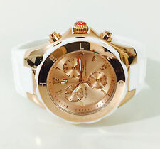 NWT MICHELE Women's WATCH Large Jelly Bean White ROSE GOLD Tahitian MWW12F000030