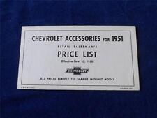 CHEVROLET ACCESSORIES FOR 1951 RETAIL SALESMANS PRICE LIST VINTAGE AUTO CARS