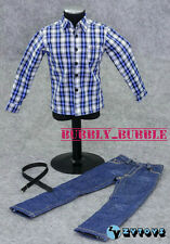 "1/6 Blue Plaid Long Sleeves Shirt Blue Jeans For 12"" Figures SHIP FROM USA"