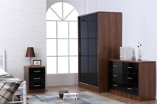 REFLECT High Gloss Black / Walnut Sliding 3 Piece Bedroom Furniture Set
