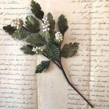 Fantastic Vintage Green Velvet Leaves With Pearls Millinery Hat Flower
