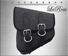 La Rosa Black Denim Leather Straps Harley Softail Rigid Left Swing Arm Saddlebag