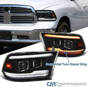 For 09-18 Ram 1500 Black Smoke Switchback LED Sequential Projector Headlights
