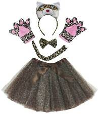 Party Adult Women Animal Headband Paw Tail Bow Skirt Costume 5p Set