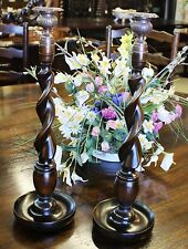 "Antique Style LARGE 19"" TALL Wooden Barley Twist Candlesticks W/ Bronze Holders"