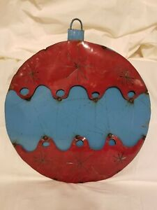Upcycled Metal Christmas Ornament Red/Blue Yard/Garden Decor Large Giant