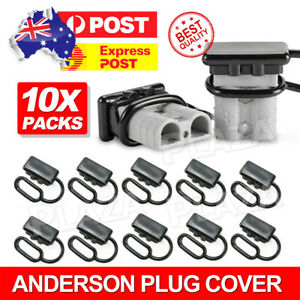 10x For Anderson Plug Cover Style Connectors 50AMP Battery Caravn Black Dust Cap