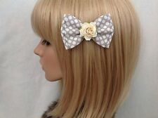 Grey white polka dot rose hair bow clip rockabilly pin up girl vintage chic