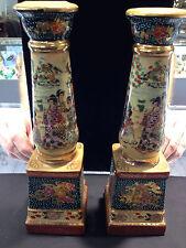Royal Satsuma pair of candlesticks