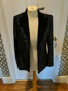 Ladies Maje black sequin tuxedo jacket. Size 36 XS. Brand new with tags attached
